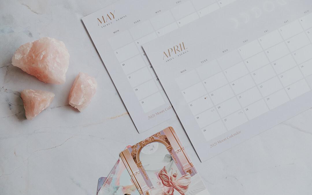 2021 Moon Calendar Lunar Calendar Rose Quartz and Work Your Light Oracle Cards